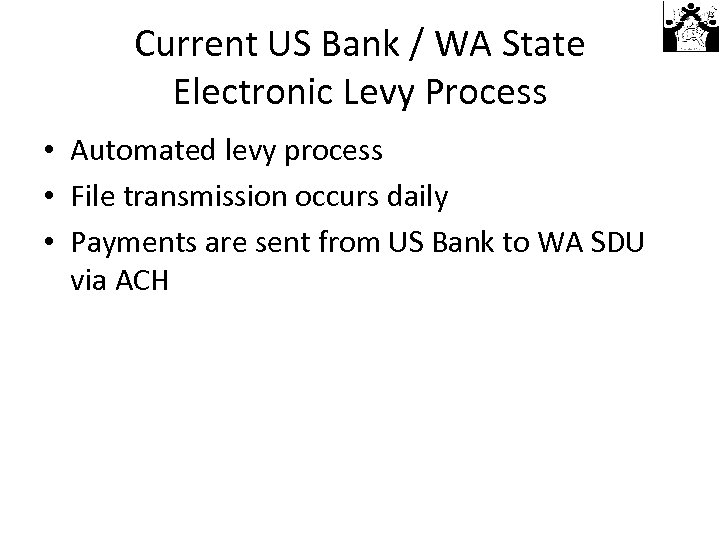 Current US Bank / WA State Electronic Levy Process • Automated levy process •
