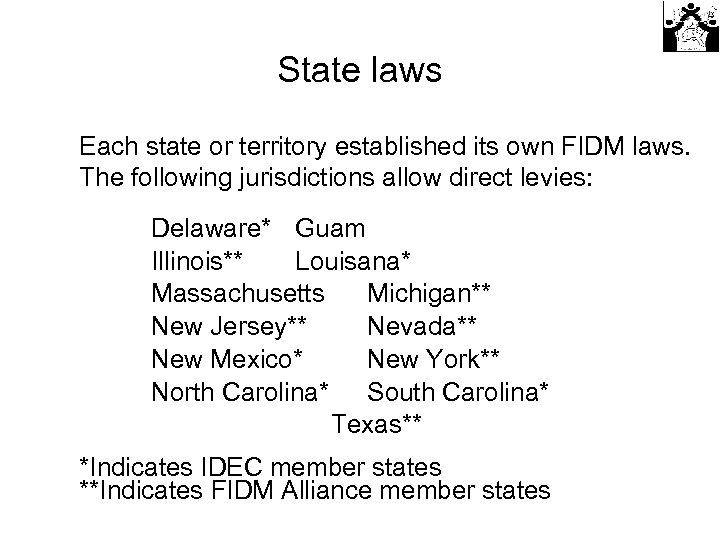 State laws Each state or territory established its own FIDM laws. The following jurisdictions