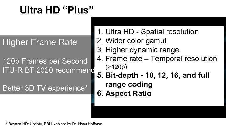 """Ultra HD """"Plus"""" 1. Ultra HD - Spatial resolution 2. Wider color gamut Higher"""