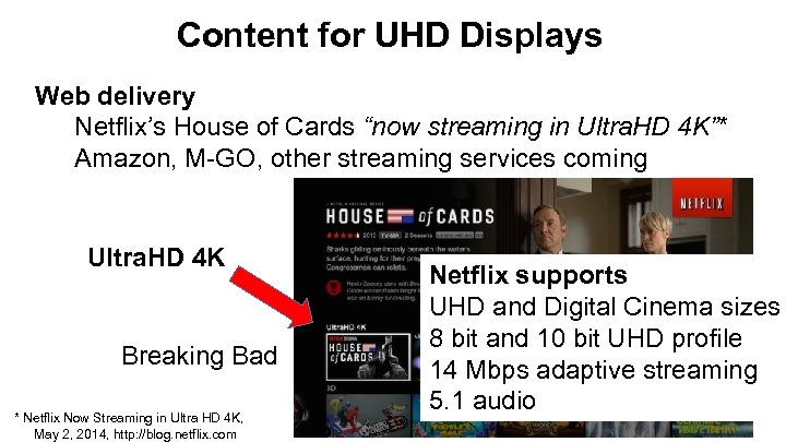 """Content for UHD Displays Web delivery Netflix's House of Cards """"now streaming in Ultra."""