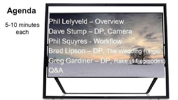 Agenda 5 -10 minutes each Phil Lelyveld – Overview Dave Stump – DP, Camera