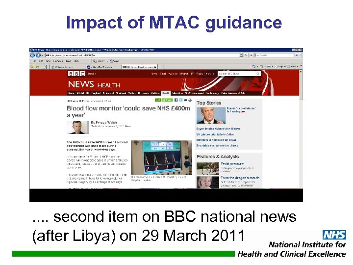 Impact of MTAC guidance . . second item on BBC national news (after Libya)