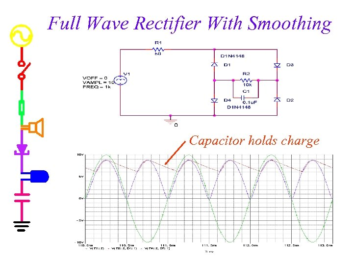 Full Wave Rectifier With Smoothing Capacitor holds charge