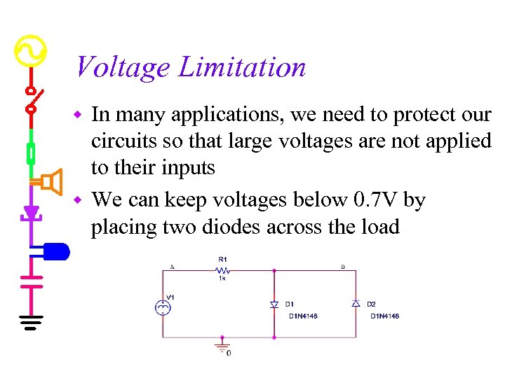 Voltage Limitation In many applications, we need to protect our circuits so that large