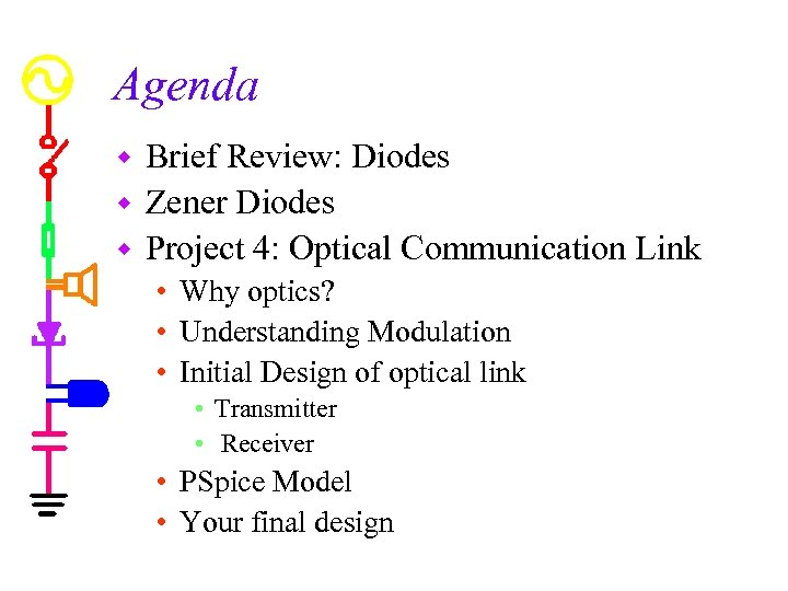 Agenda Brief Review: Diodes w Zener Diodes w Project 4: Optical Communication Link w