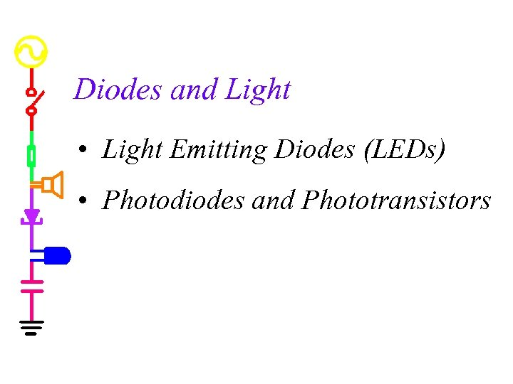 Diodes and Light • Light Emitting Diodes (LEDs) • Photodiodes and Phototransistors