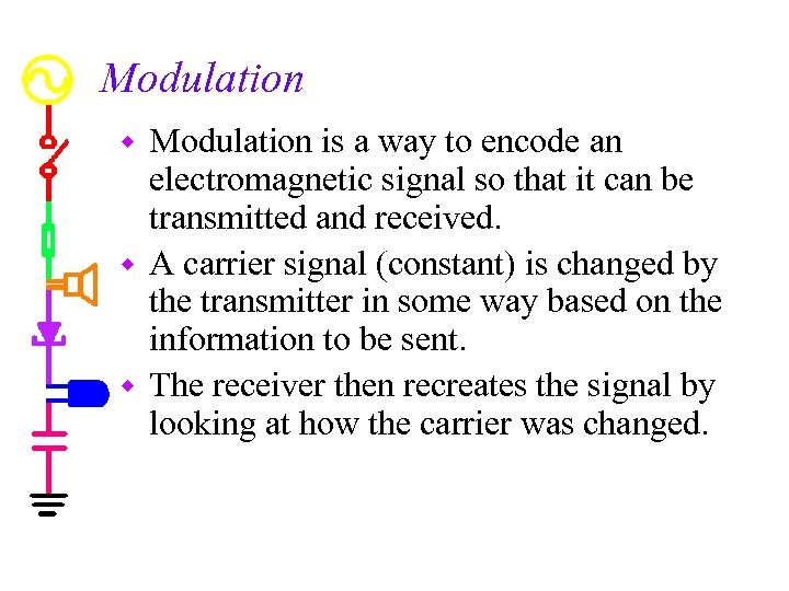 Modulation is a way to encode an electromagnetic signal so that it can be