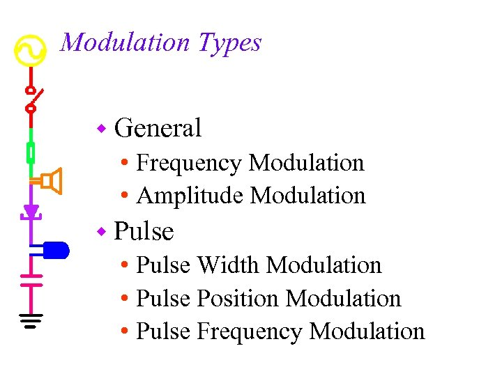 Modulation Types w General • Frequency Modulation • Amplitude Modulation w Pulse • Pulse
