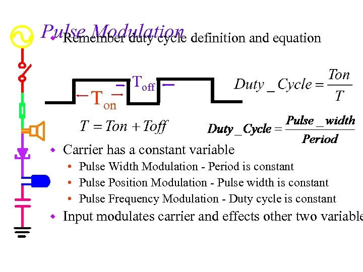 Pulse Modulation definition and equation w Remember duty cycle Ton w Toff Carrier has