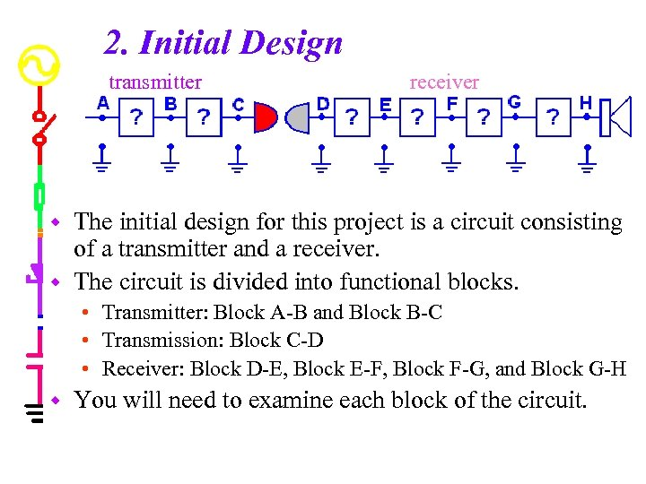 2. Initial Design transmitter receiver The initial design for this project is a circuit