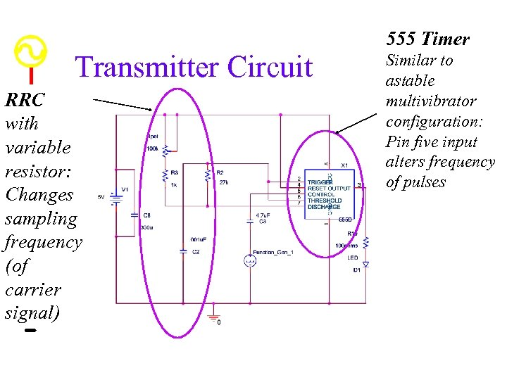 555 Timer Transmitter Circuit RRC with variable resistor: Changes sampling frequency (of carrier signal)