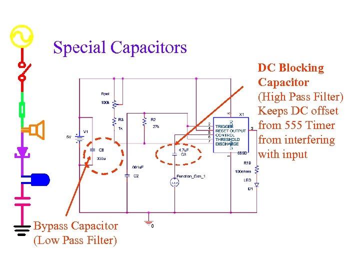 Special Capacitors DC Blocking Capacitor (High Pass Filter) Keeps DC offset from 555 Timer