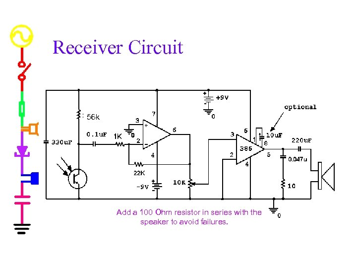 Receiver Circuit 56 k Add a 100 Ohm resistor in series with the speaker