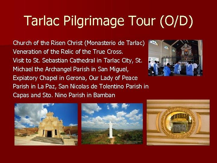Tarlac Pilgrimage Tour (O/D) Church of the Risen Christ (Monasterio de Tarlac) Veneration of
