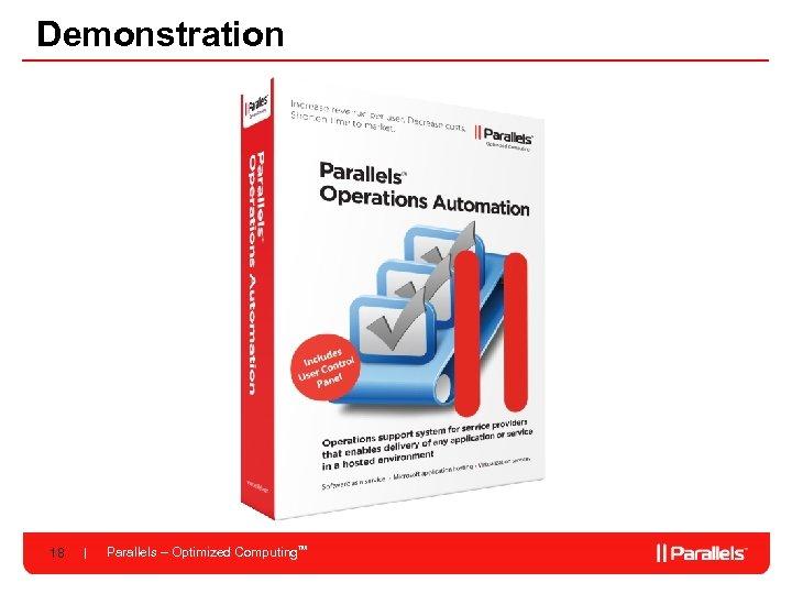Demonstration 18 Parallels – Optimized Computing. TM