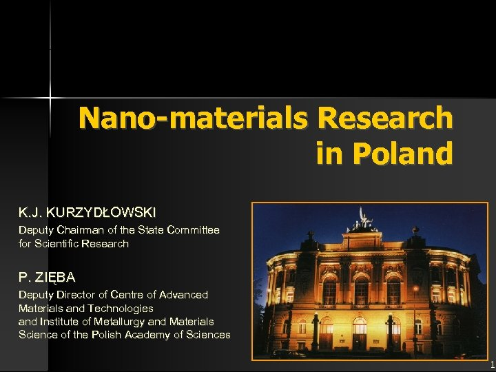 Nano-materials Research in Poland K. J. KURZYDŁOWSKI Deputy Chairman of the State Committee for