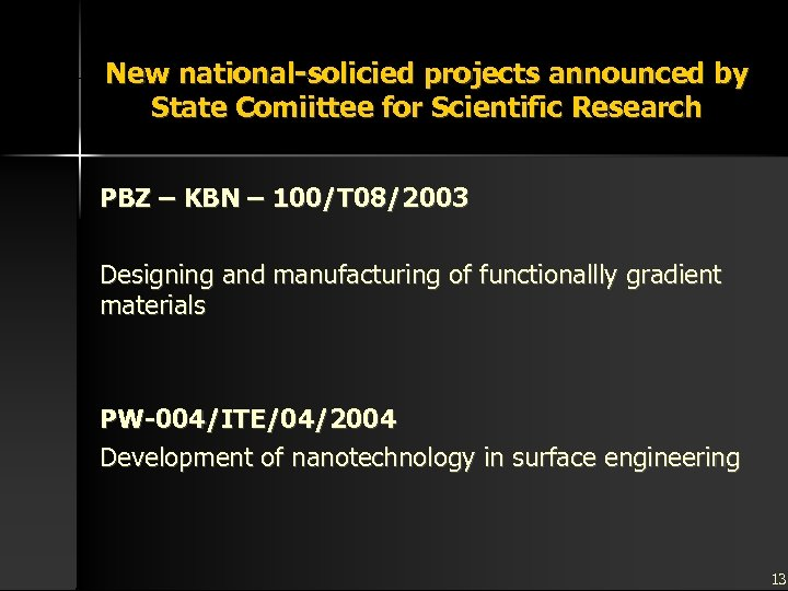 New national-solicied projects announced by State Comiittee for Scientific Research PBZ – KBN –
