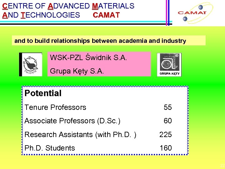 CENTRE OF ADVANCED MATERIALS AND TECHNOLOGIES CAMAT and to build relationships between academia and