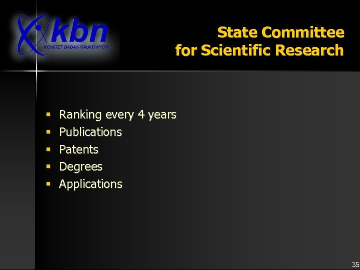 State Committee for Scientific Research § § § Ranking every 4 years Publications Patents