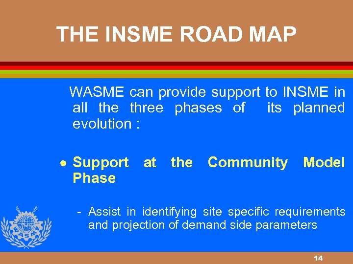 THE INSME ROAD MAP WASME can provide support to INSME in all the three