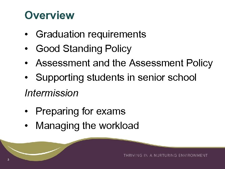 Overview • • Graduation requirements Good Standing Policy Assessment and the Assessment Policy Supporting