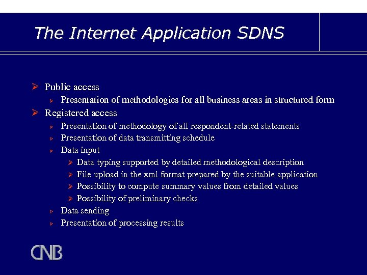 The Internet Application SDNS Ø Public access Ø Presentation of methodologies for all business