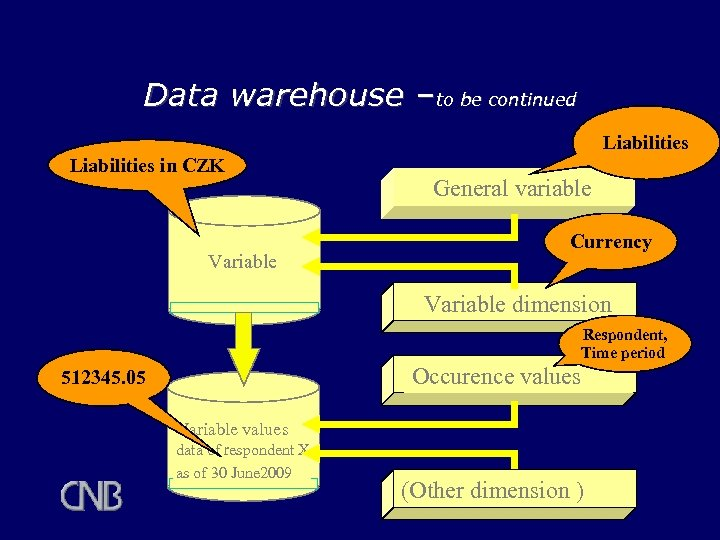 Data warehouse –to be continued Liabilities in CZK Variable General variable Currency Variable dimension