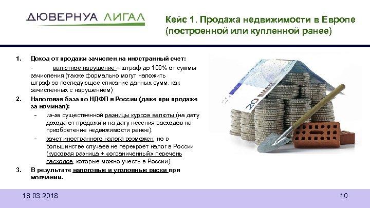 Кейс 1. Продажа недвижимости в Европе (построенной или купленной ранее) 1. 2. 3. Доход