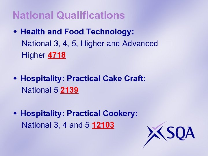 National Qualifications w Health and Food Technology: National 3, 4, 5, Higher and Advanced