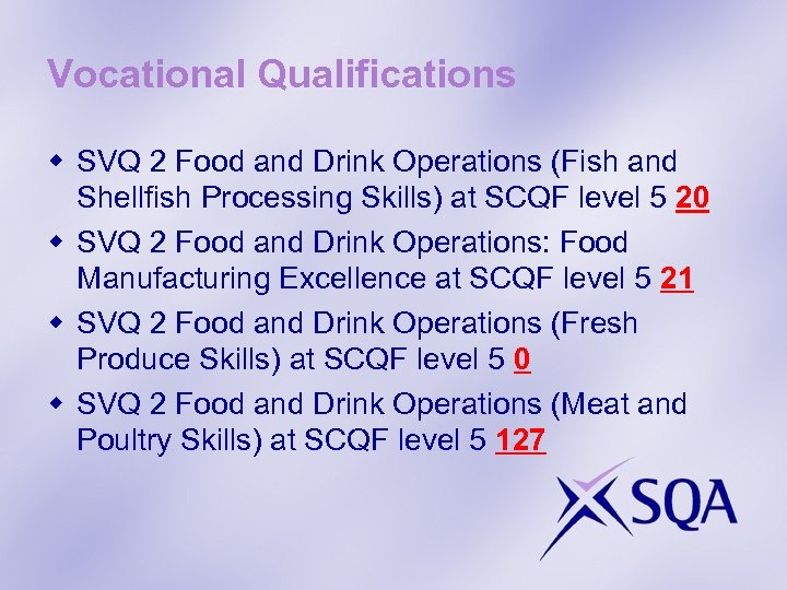 Vocational Qualifications w SVQ 2 Food and Drink Operations (Fish and Shellfish Processing Skills)