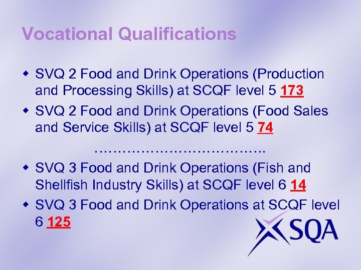 Vocational Qualifications w SVQ 2 Food and Drink Operations (Production and Processing Skills) at