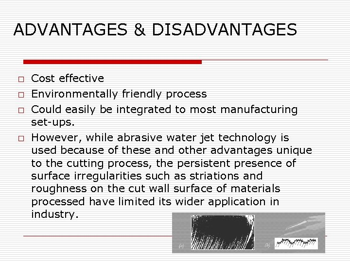 ADVANTAGES & DISADVANTAGES o o Cost effective Environmentally friendly process Could easily be integrated