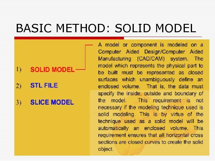 BASIC METHOD: SOLID MODEL