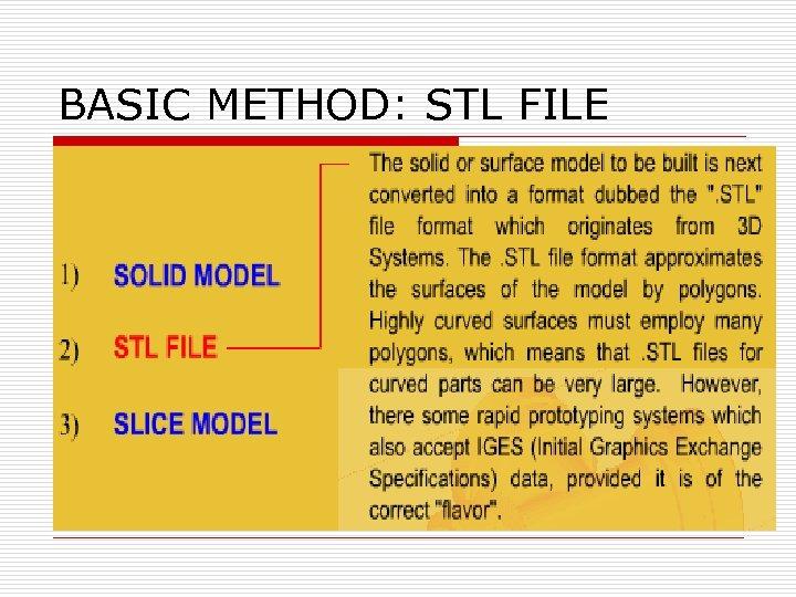 BASIC METHOD: STL FILE