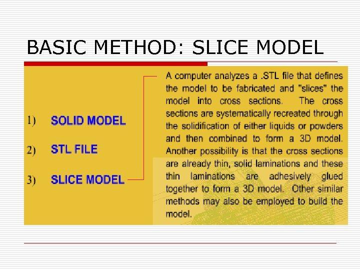 BASIC METHOD: SLICE MODEL