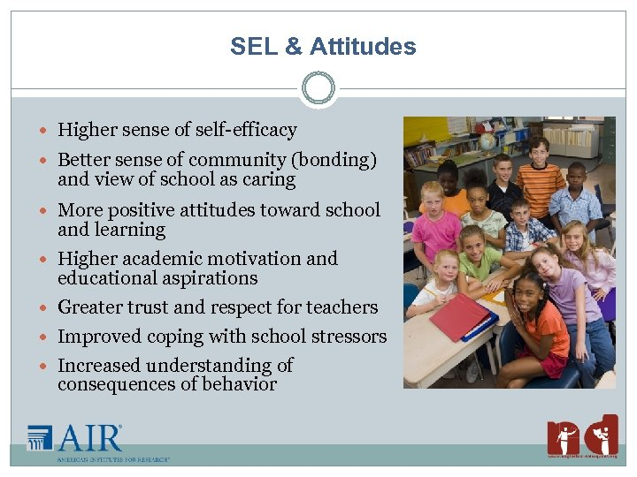 SEL & Attitudes Higher sense of self-efficacy Better sense of community (bonding) and view