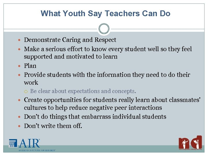 What Youth Say Teachers Can Do Demonstrate Caring and Respect Make a serious effort