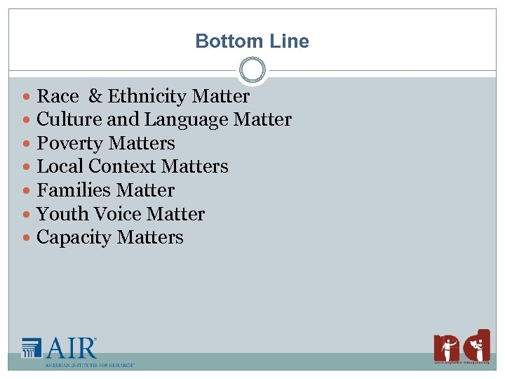 Bottom Line Race & Ethnicity Matter Culture and Language Matter Poverty Matters Local Context