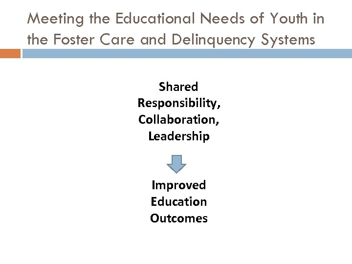 Meeting the Educational Needs of Youth in the Foster Care and Delinquency Systems Shared