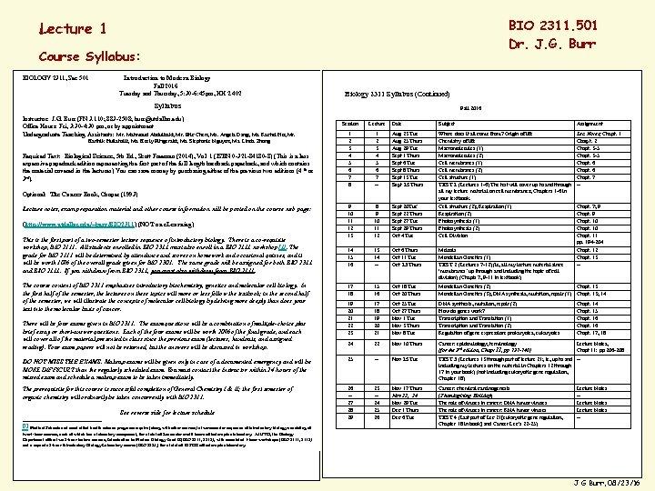 BIO 2311. 501 Dr. J. G. Burr Lecture 1 Course Syllabus: BIOLOGY 2311, Sec
