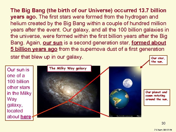 The Big Bang (the birth of our Universe) occurred 13. 7 billion years ago.