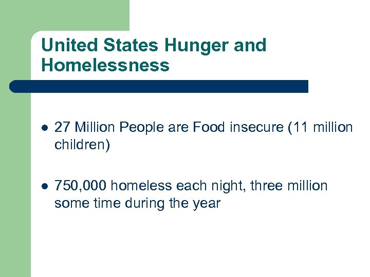 United States Hunger and Homelessness l 27 Million People are Food insecure (11 million