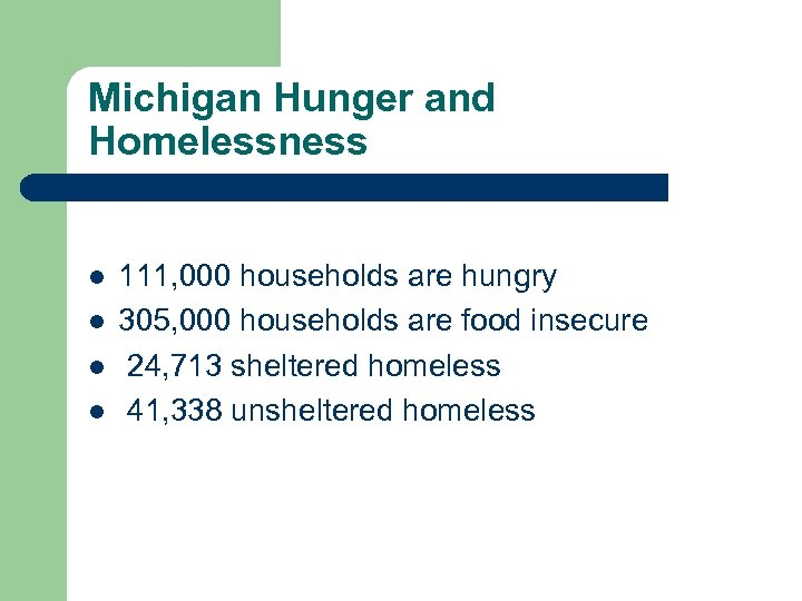 Michigan Hunger and Homelessness l l 111, 000 households are hungry 305, 000 households