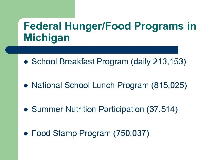 Federal Hunger/Food Programs in Michigan l School Breakfast Program (daily 213, 153) l National