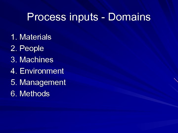Process inputs - Domains 1. Materials 2. People 3. Machines 4. Environment 5. Management