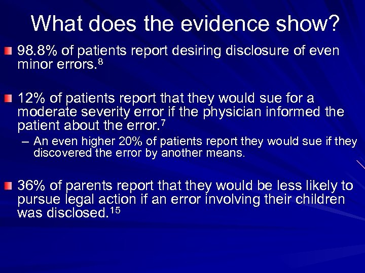 What does the evidence show? 98. 8% of patients report desiring disclosure of even