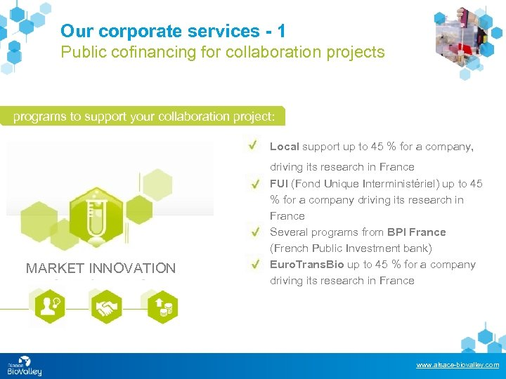 Our corporate services - 1 Public cofinancing for collaboration projects programs to support your