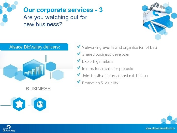 Our corporate services - 3 Are you watching out for new business? Alsace Bio.