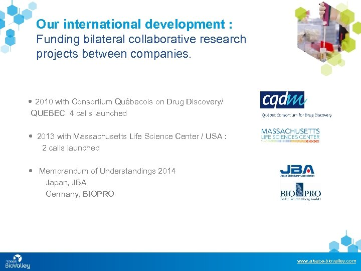 Our international development : Funding bilateral collaborative research projects between companies. 2010 with Consortium
