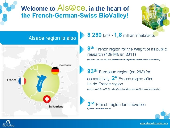 Welcome to Als ce, in the heart of the French-German-Swiss Bio. Valley! Alsace region